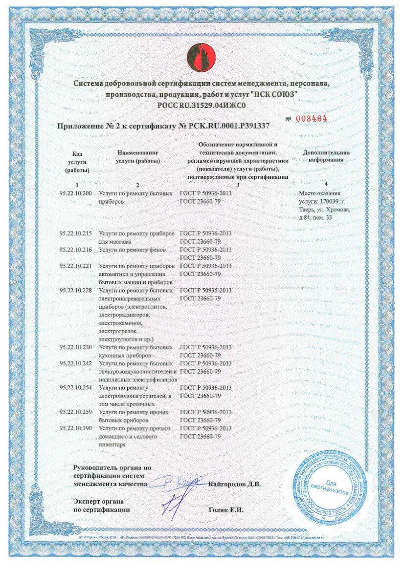 Сертификат на ремонт и списание техники